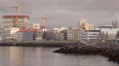 Reykjavik embankment ocean view Stock Footage