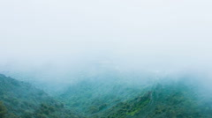 Dangerous stormy weather, humidity, thick fog in mountains. Risky expedition - stock footage