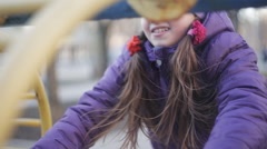 young girl in braces cute smiling in the spring park - stock footage