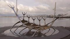 Reykjavik, Iceland -  The Viking Monument on a Reykjavik embankment Stock Footage