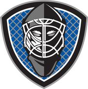Ice Hockey Goalie Helmet Crest Retro - stock illustration