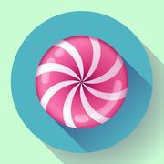 Sweet lollipop candie icon. Flat design style. - stock illustration