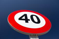 Speed limit sign - stock photo