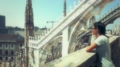 Tourist on the rooftop of Duomo Milan Stock Footage