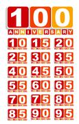 Big Set of Anniversary Label Sign for your Date. Vector Illustra Stock Illustration