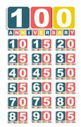 Big Set of Anniversary Label Sign for your Date. Vector Illustra - stock illustration