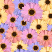 Gerbera Seamless Pattern Floral Background - stock illustration