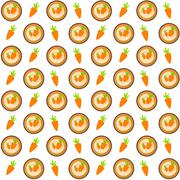 Sweet Cakes with Carrot Seamless Pattern Background Vector Illus - stock illustration
