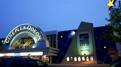 One side of movie theater in Port Moody at night Stock Footage