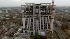 Odessa, Ukraine : unfinished building at French boulevard. Aerial - stock footage