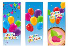 Color Glossy Happy Birthday Balloons and Cake Banner Background - stock illustration