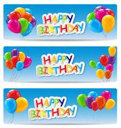 Color Glossy Happy Birthday Balloons Banner Background Vector Il - stock illustration