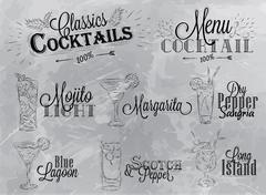 Cocktail menu gray - stock illustration