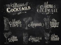 Cocktail menu chalk - stock illustration