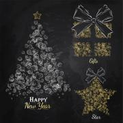 New Year collection gold - stock illustration