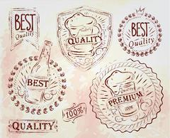 Vintage beer design elements brown Stock Illustration