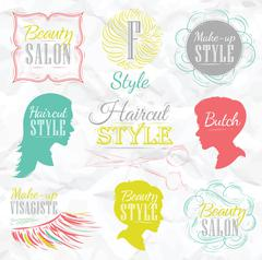 Set Beauty salon color Stock Illustration