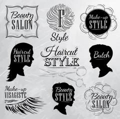 Set Beauty salon coal Stock Illustration