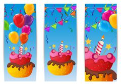 Color Glossy Happy Birthday Balloons and Cake Banner Background Stock Illustration