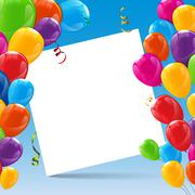 Color Glossy Happy Birthday Balloons Banner Background - stock illustration