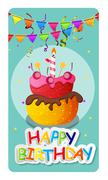 Happy Birthday Card Baner Background  with Cake and Flags. Vecto Stock Illustration