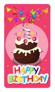 Happy Birthday Card Baner Background  with Cake and Flags. Vecto - stock illustration