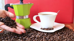 Moka pot retro with coffee beans and cup 6 Stock Footage
