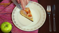 Cook putting cake slice on plate. Homemade apple cake. Piece of cake on dish Stock Footage