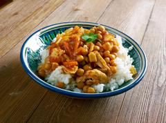 Afghan dish with chicken, chickpeas . - stock photo