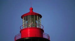 Red lighthouse at Saint Augustine Florida Stock Footage