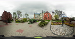 People on Vintage City Square Flowerbeds vr Video 360 Little Planet Video - stock footage
