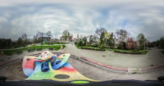 People Walk in Park Dark Clouds Video 360 vr Panoramic View of Square Colored Stock Footage