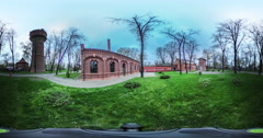 Obsolete Buildings in Park It's Getting Dark Video 360 vr Panoramic View of the - stock footage
