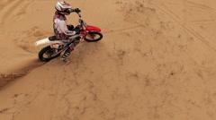 Motor racers in Oleshky sands. Ukraine. Slow motion Stock Footage