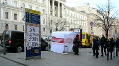 Activists demanding the government's resignation in Kiev, Ukraine, Stock Footage
