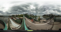 People Are Cross the Footbridge Video 360 vr Panoramic View of the Bridge Over Stock Footage