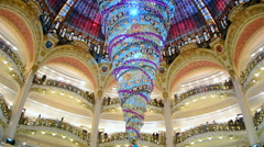Christmas decorated Galeries Lafayette department store in Paris, France. Stock Footage