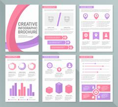 Vector template for multipurpose presentation slides with graphs and charts - stock illustration