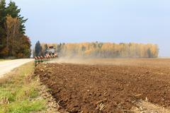 plowed field , plowed - stock photo