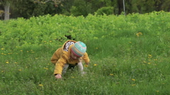 A three years old girl plucking flowers in a park. Slowly Stock Footage