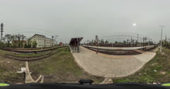 Panoramic View of the Railroad Station Video 360 Little Planet Video vr Stock Footage