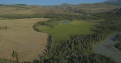Flying over the River. Mountains of Altai, Siberia. Kurai Steppe - stock footage