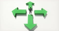 4k business people standing on the center of four arrow,Choose direction. Stock Footage