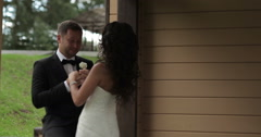 Bride and groom on their wedding Stock Footage