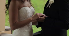 Happy bride and groom holding hands Stock Footage