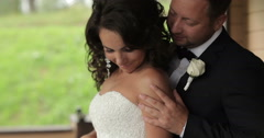 Happy bride and groom together Stock Footage