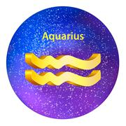 Sign of the zodiac Aquarius on the sky. Stock Illustration