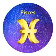 Sign of the zodiac Pisces on the sky. - stock illustration