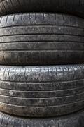 used car tires. close-up - stock photo