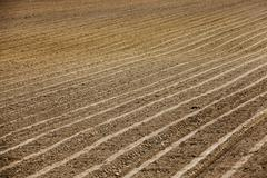 plowed agricultural field - stock photo